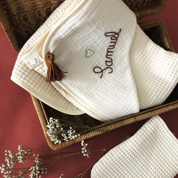 cape de bain personnalisable en coton nid d'abeille