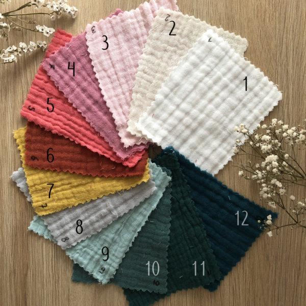 coloris tissu gaze de coton pour doudou lange attache tétine 12avril