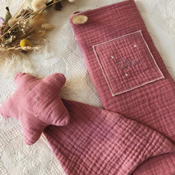 lange en triple gaze de coton oekotex bois de rose