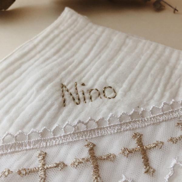 lande de baptême en gaze de coton personnalisé au prénom de l'enfant